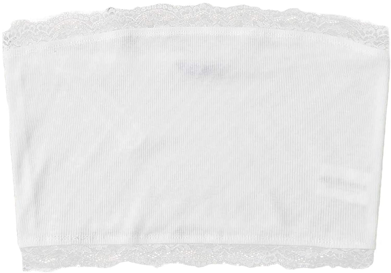 Verdusa Women's Lace Trim Sleeveless Ribbed Crop Tube Bandeau Top