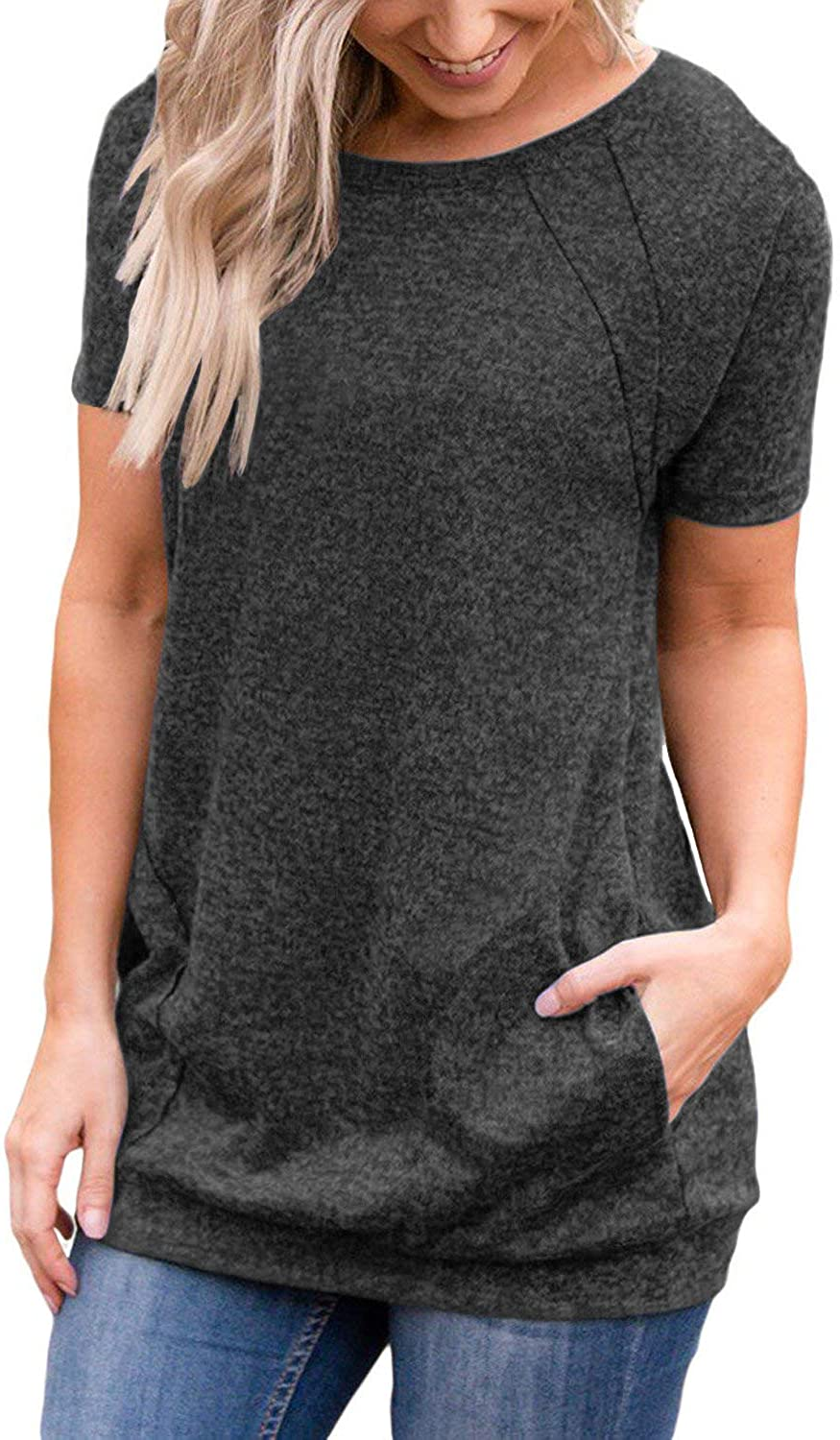 Muhadrs Women's Long/Short Sleeve Casual Tunic Tops Loose Blouse Shirts with Pockets