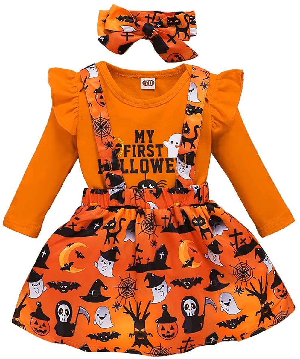 Newborn Infant Baby Girls Outfits My 1st Halloween Orange Romper+Suspender Skirt+Headband Clothes Set