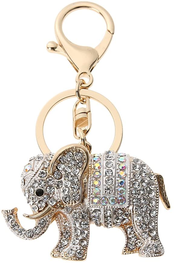 Whitelotous Popular Inlaid Color Cast Elephant Key Ring - Rhinestone Purse Bag Buckle - Crystal Key Chain - Ladies Bag Pendant
