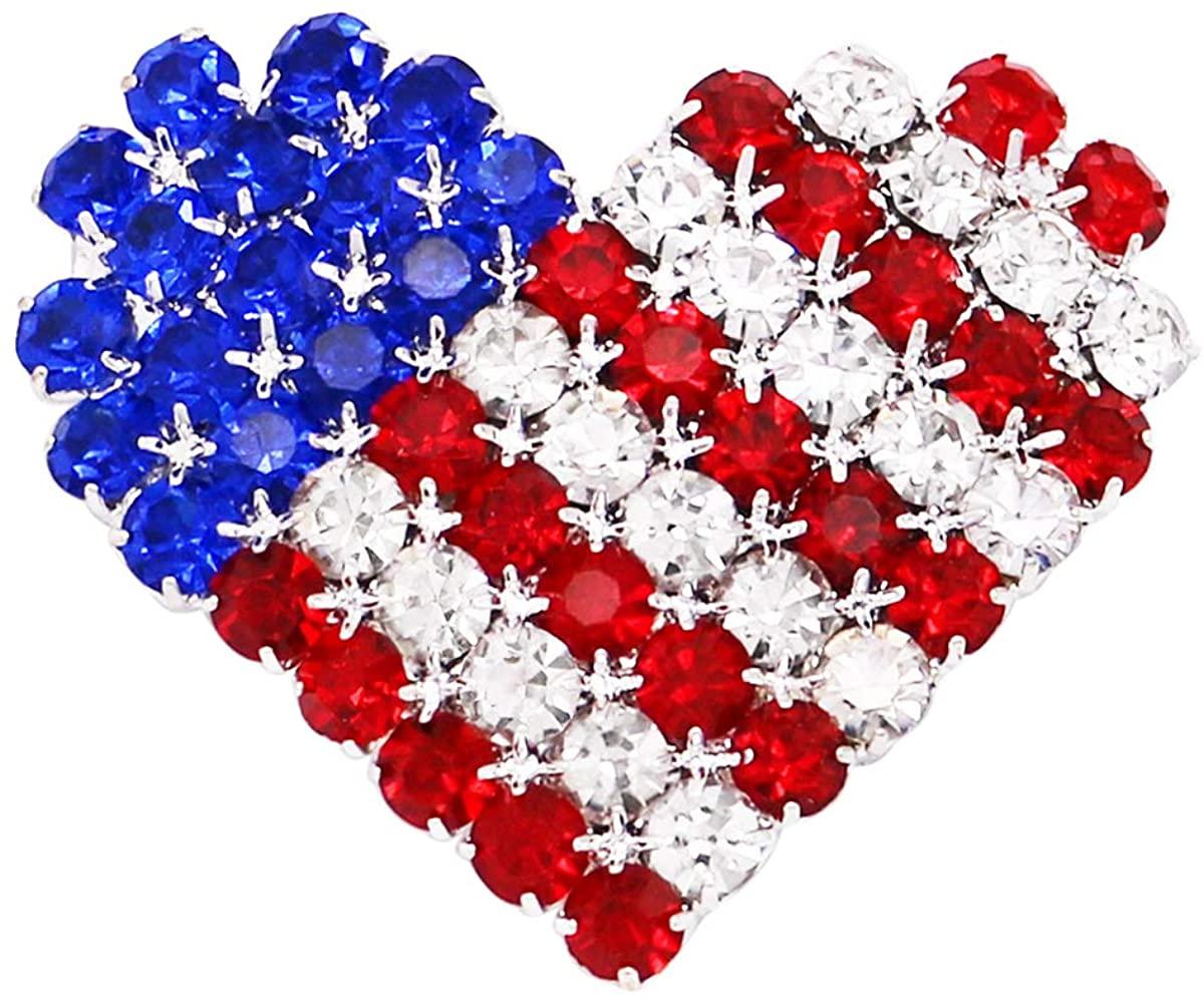 Rosemarie & Jubalee Women's USA Patriotic American Flag Crystal Heart Brooch Lapel Pin, 1.5