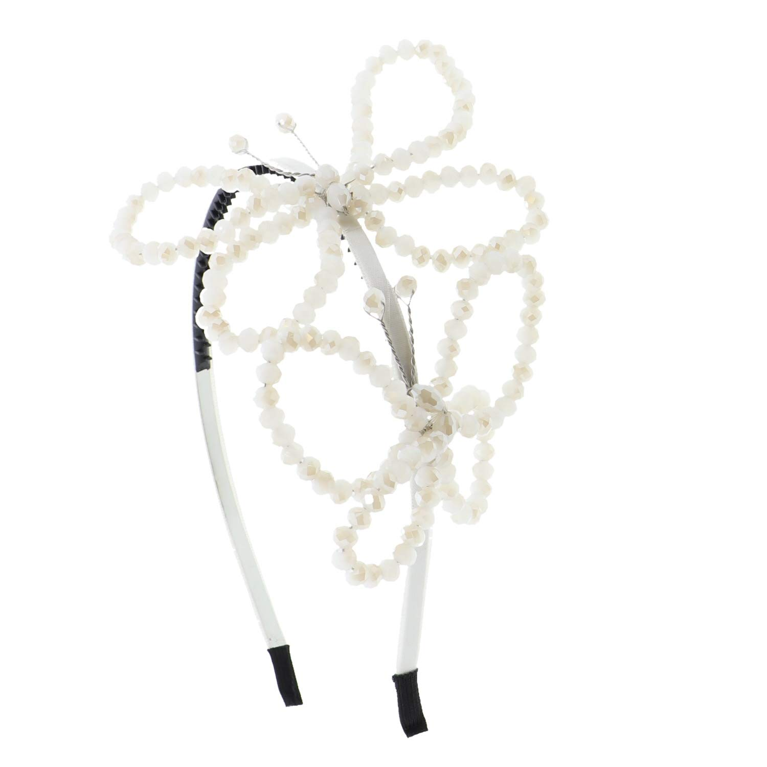 Beaded Butterfly Headband Hair Band For Woman And Girls - Ivory