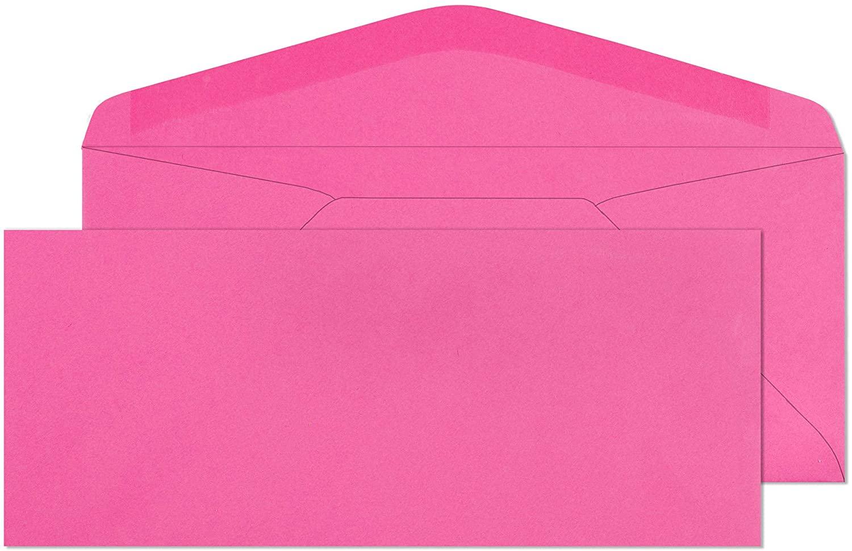 #9 Colored Envelopes - Business, Invitation, Documents, Legal Letter, Envelope, Cute for Gift Notes/Decorations - Color Starburst Bright Pink - Non Window Return Envelopes - 50 Pack