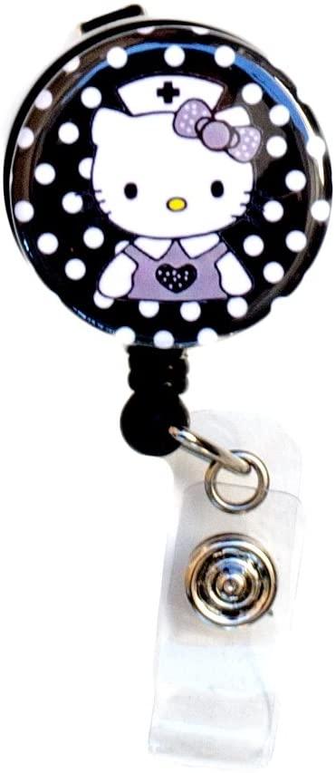 SIZZLE CITY New Custom Hello Kitty Nurse/RN/CNA/LVN/Nursing Student Badge Reel Retractable ID Badge Holder (Black)
