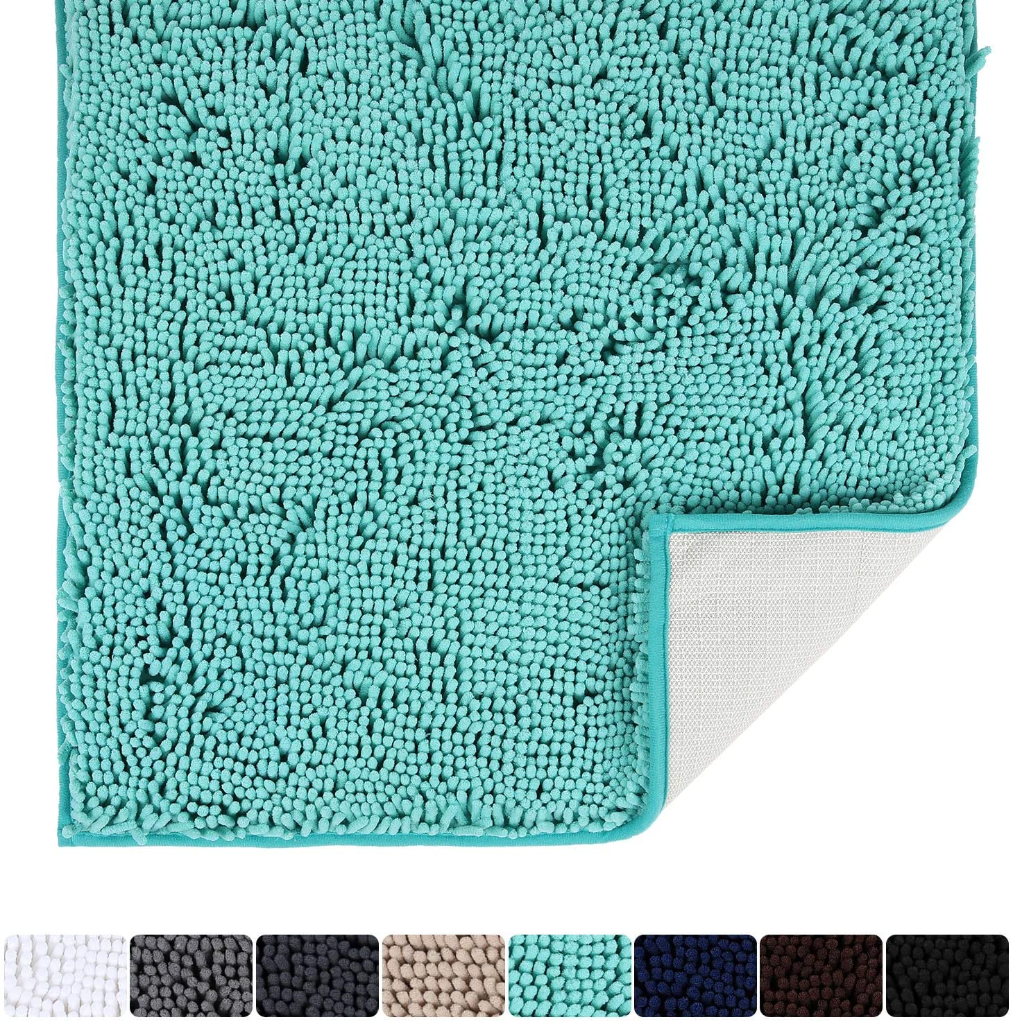 Colorxy Luxury Chenille Bathroom Rug - Solid Shaggy Washable Bath Mat Non Slip Bath Room Runner, Ultra Soft, Plush Bathmat for Bathroom Shower with Water Absorbent Memory Foam, 24''x47'', Turquoise
