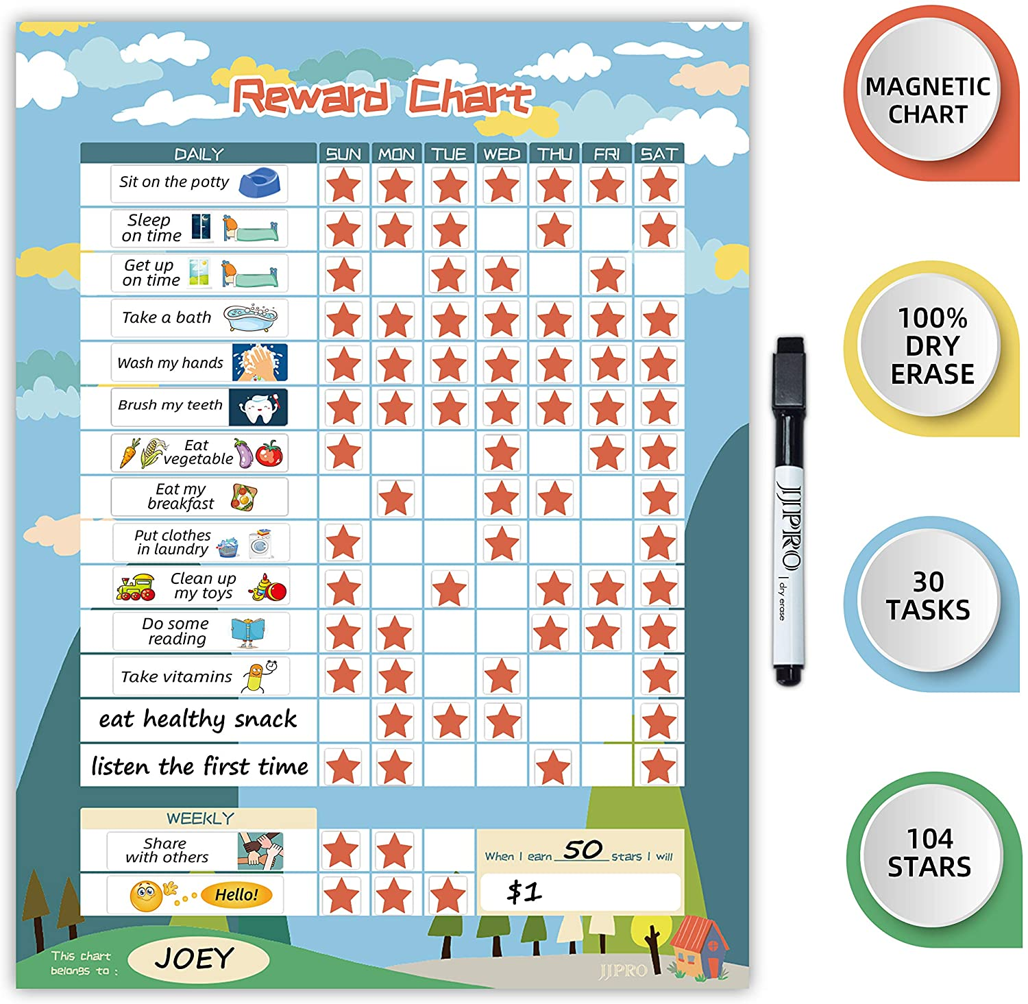 """Magnetic Chore Chart for Kid at Home, Bahavior Chart for Kid at Home, Reward Chart for Kids Behavior. Each Set Includes 30 tasks, 104 Stars, and one 11"""" x 14.5"""