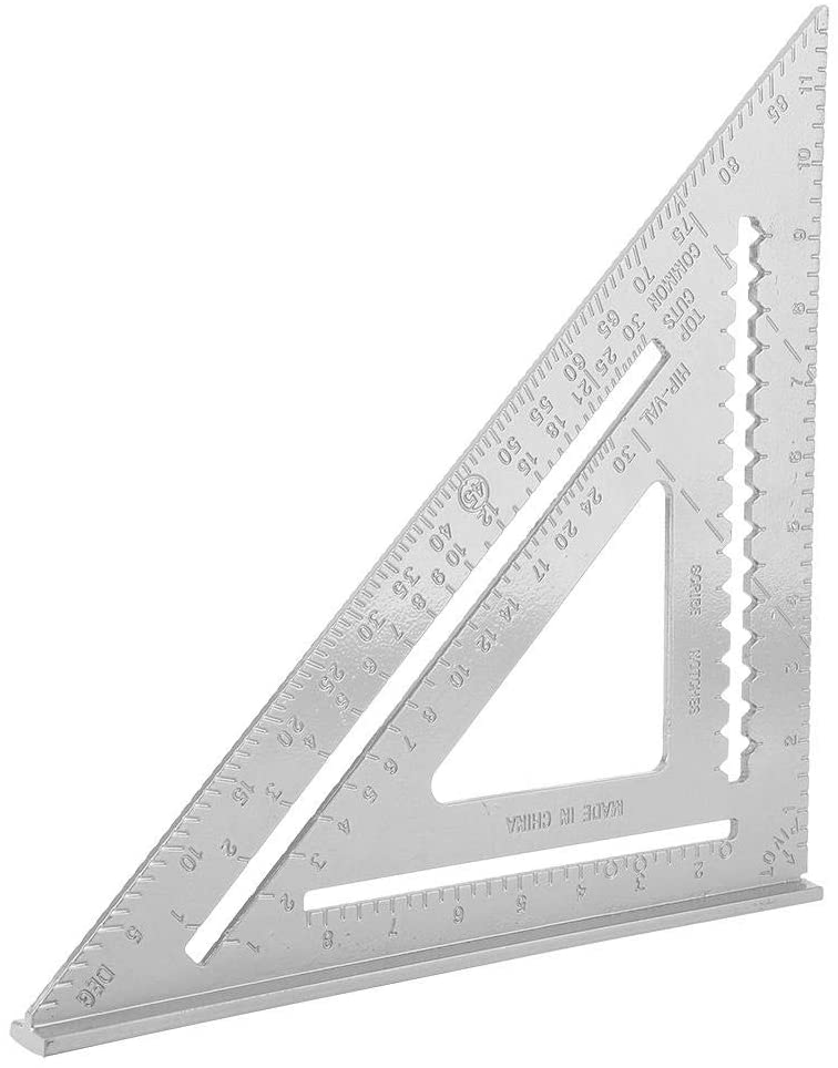 Triangle Ruler, 12 inch White Aluminum Right Angle Triangle Ruler High Precision Carpentry Measuring Layout Tool Rustproof Woodworking Protractor(Aluminium Profile)