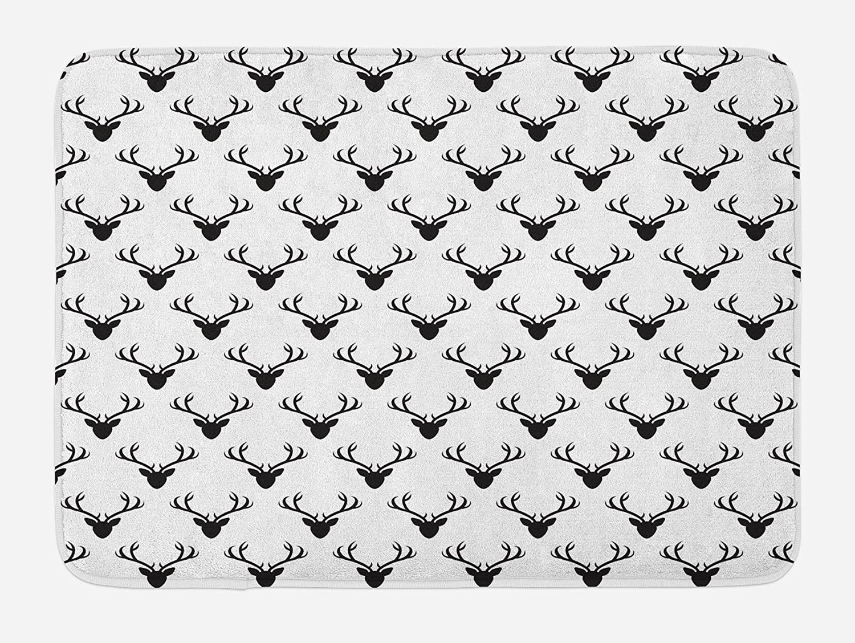 Lunarable Deer Bath Mat, Pattern with Deer Heads Silhouettes Horn Curvy Wildlife Forest Creative Design Print, Plush Bathroom Decor Mat with Non Slip Backing, 29.5