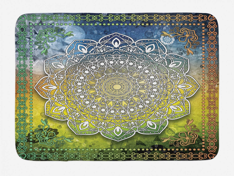 Ambesonne Ethnic Bath Mat, Mystic Mandala Culture Chakra Karma Calmness and Harmony Boho Design, Plush Bathroom Decor Mat with Non Slip Backing, 29.5