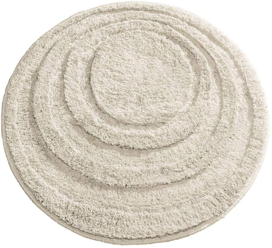 mDesign Soft Microfiber Polyester Non-Slip Round Spa Mat, Plush Water Absorbent Accent Rug for Bathroom Vanity, Bathtub/Shower - Concentric Circle Design, Machine Washable - Light Beige