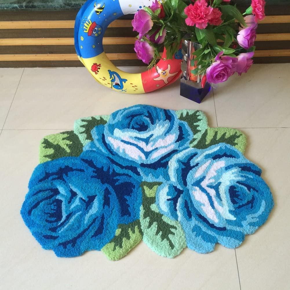 YOUSA Romantic 3 Blue Roses Area Rug Flower Shaped Bedroom Floor Mat 31.5''x23.6''
