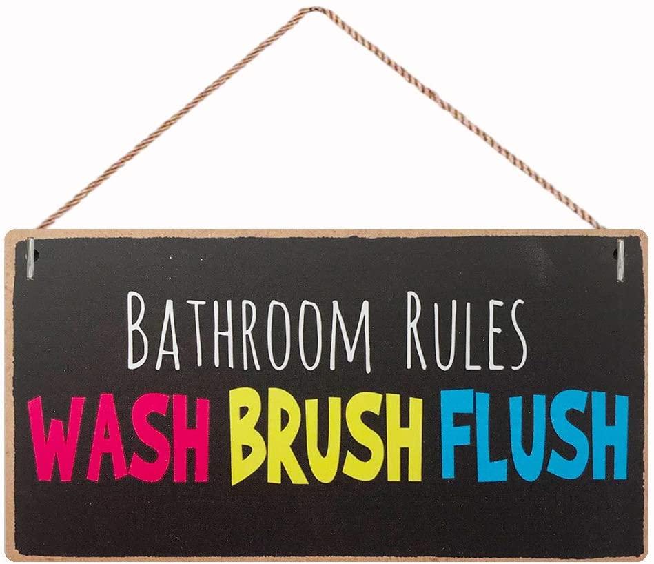 Home Decor Wood Sign Plaque Funny Bathroom Signs 10