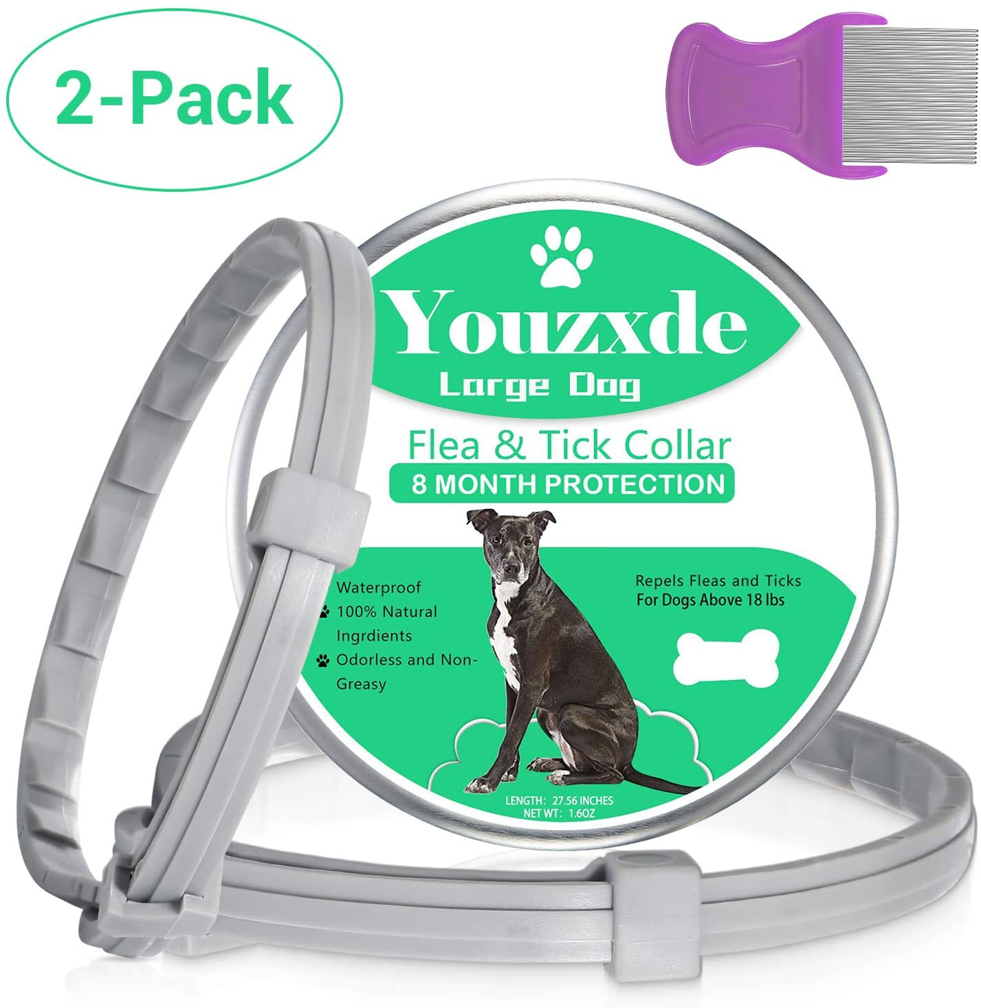 Youzxde Flea and Tick Collar for Large Dogs with Flea Comb,8-Month Tick and Flea Control for Dogs Above 18 Lbs,Safe & Allergy Free, Waterproof, Adjustable,2 Pack