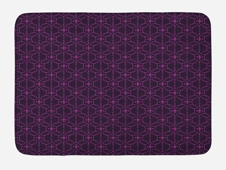 Ambesonne Indigo Bath Mat, Oriental Design with Floral Swirl Leaf Details Image Print, Plush Bathroom Decor Mat with Non Slip Backing, 29.5