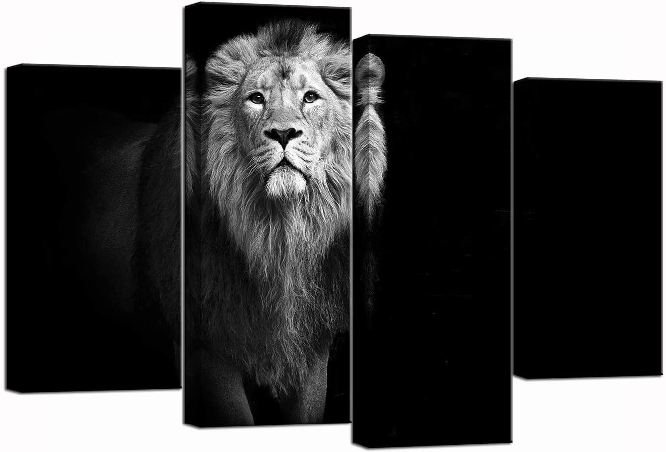 Nachic Wall 4 Piece Canvas Wall Art Black and White Lion Picture Painting Animal Canvas Print for Home Office Man Room Decor Framed Ready to Hang