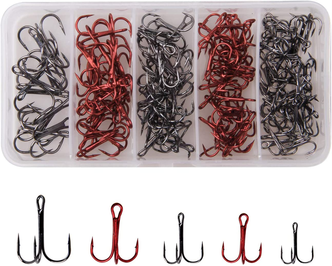 Fishing Treble Hooks Kit High Carbon Steel Strong Sharp Round Bend Fish Hooks for Hard Baits Lures 130pcs Tackle Box