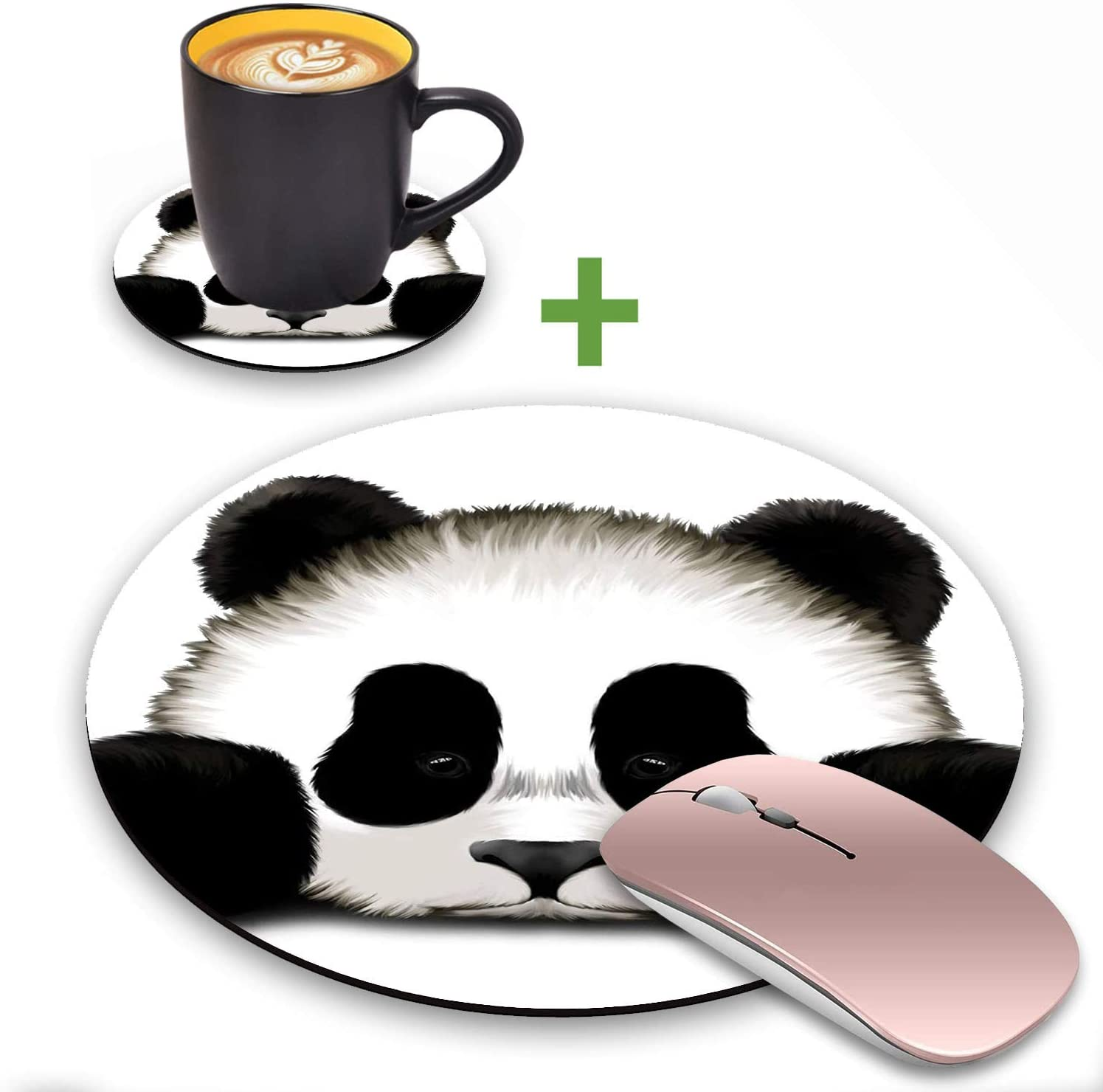 LACOMA Round Mouse Pad and Coasters Set, Cute Panda Design Mouse Pad, Non-Slip Rubber Base Mouse Pads for Laptop and Computer, Cute Design Desk Accessories