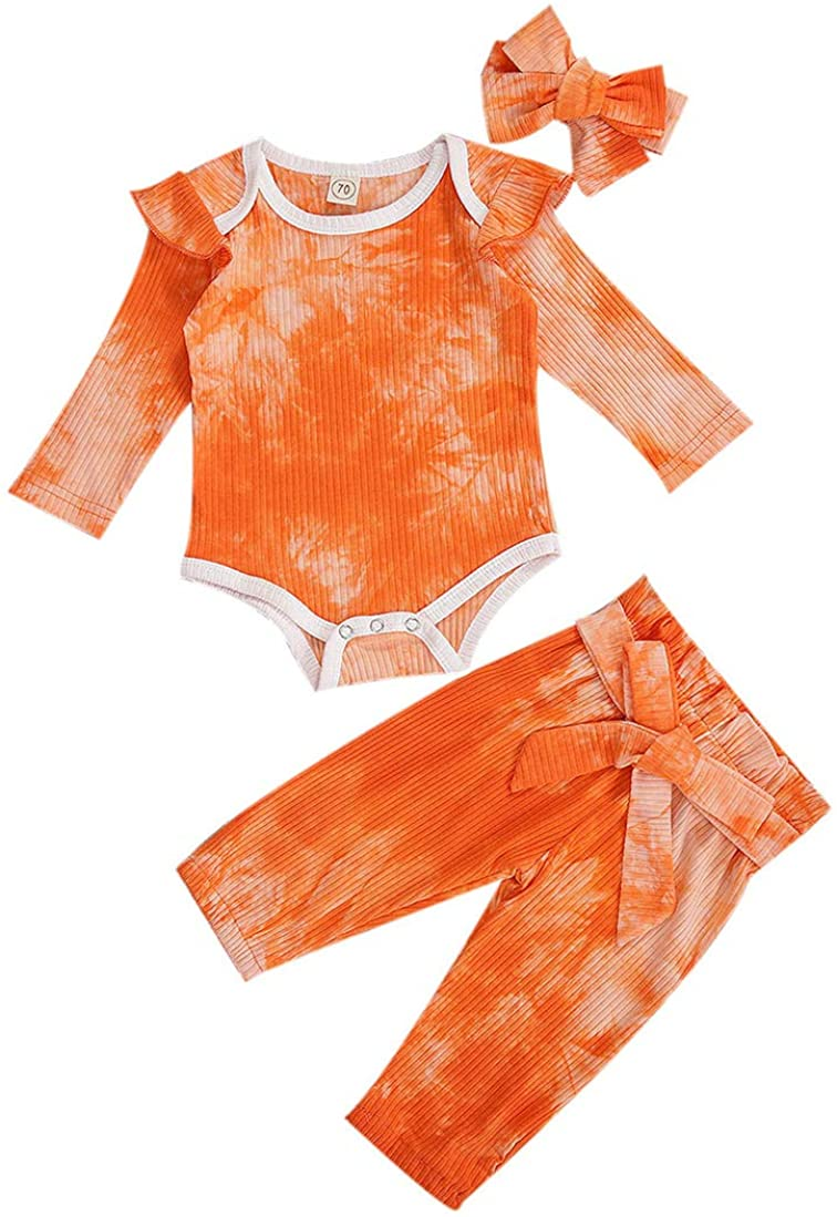 3PCS Newborn Baby Girls Cotton Tie-Dye Ruffle Long Sleeve Romper Bowknot Tie Pants Headband Outfit Set
