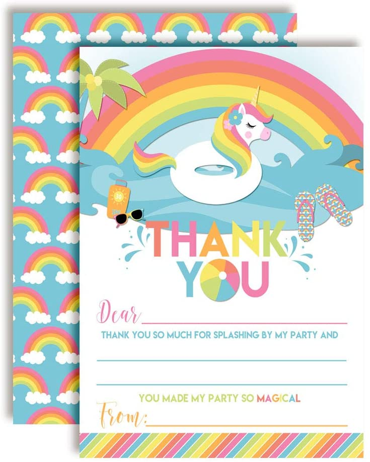 Rainbow Unicorn Pool Float Themed Thank You Notes for Kids, Ten 4