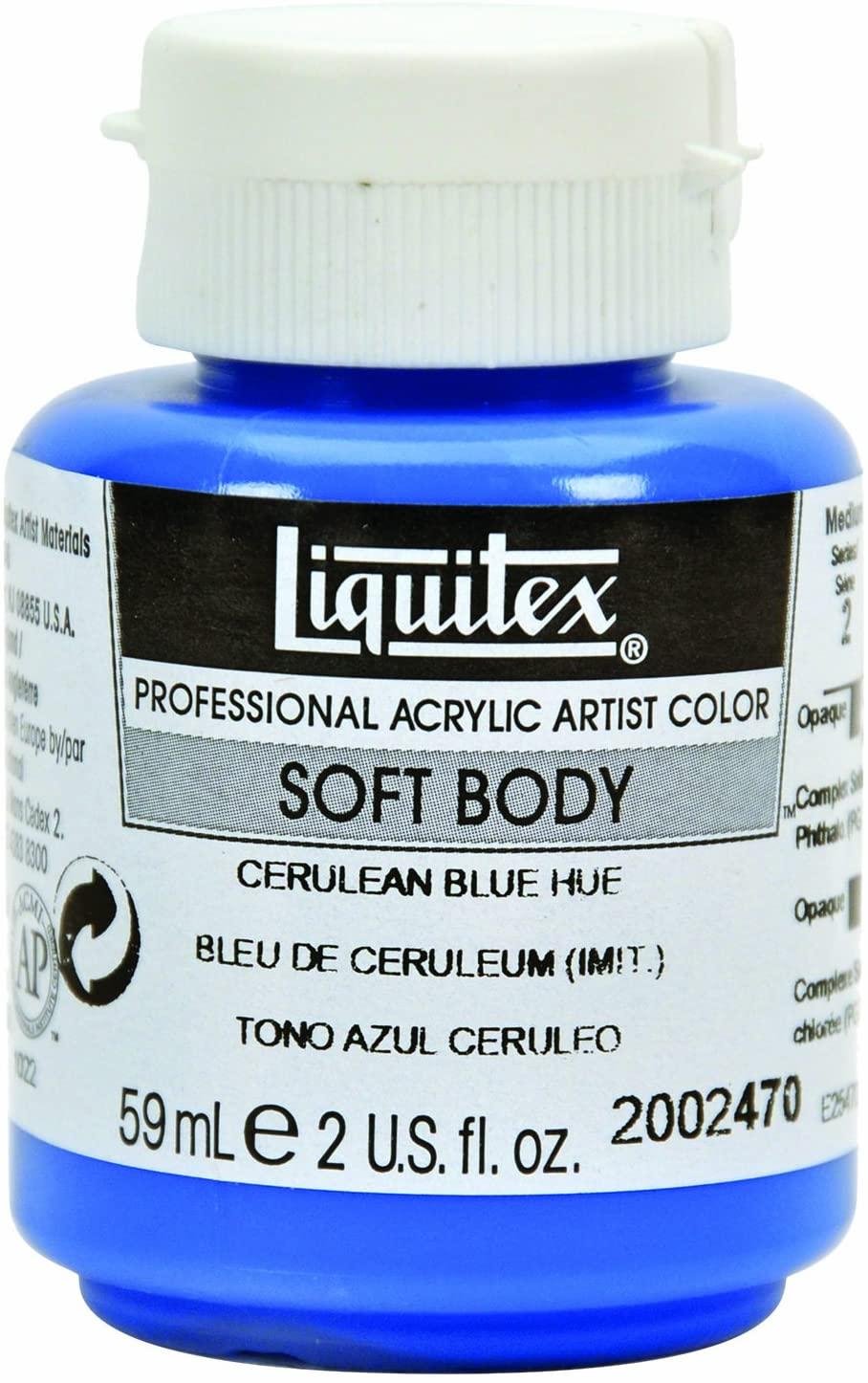 Liquitex 2002470 Professional Soft Body Acrylic Paint 2-oz jar, Cerulean Blue Hue