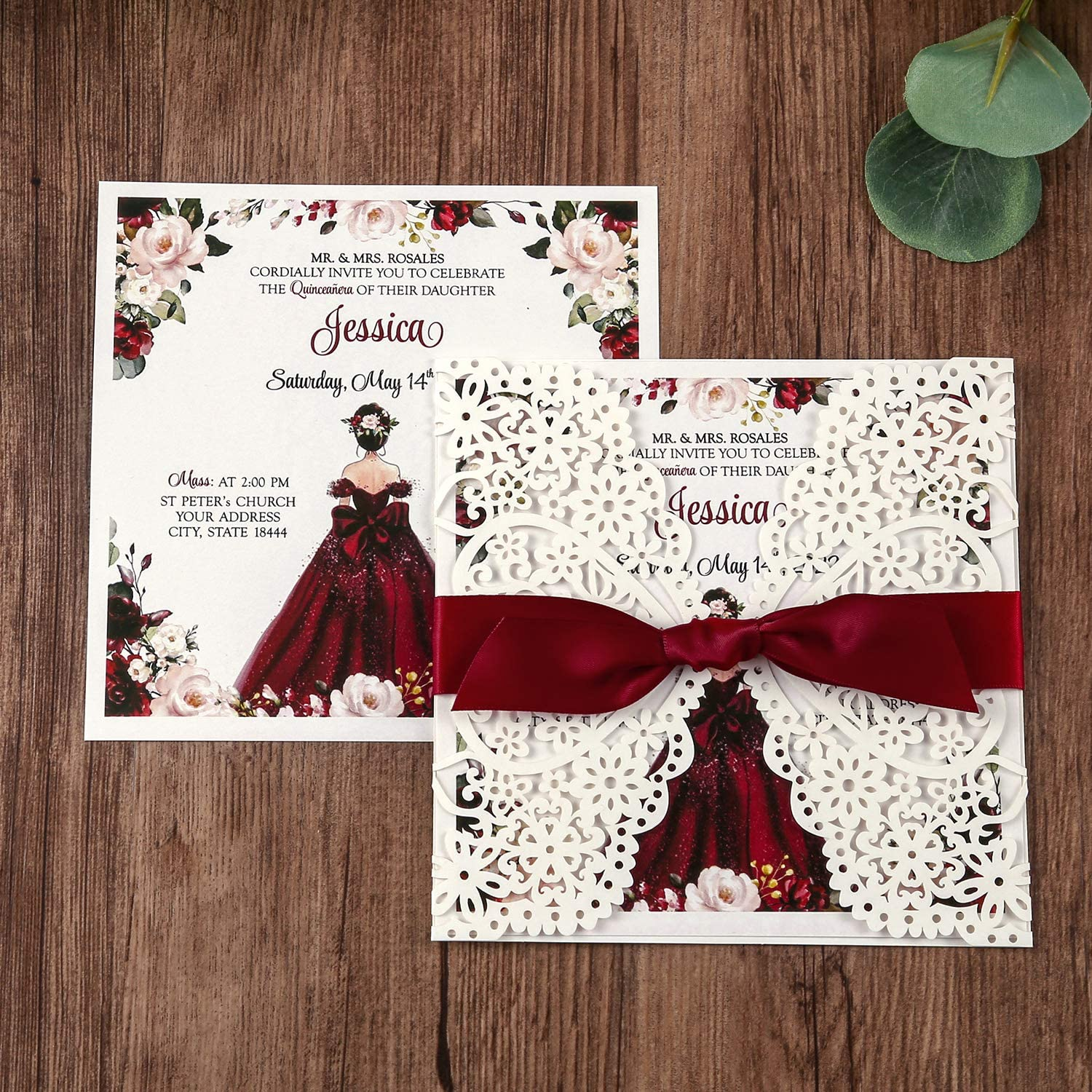 Dream Built 5.9 x 5.9 Inch 50PCS Blank Burgundy Laser Cut Wedding Invitations With Burgundy Ribbon and Envelopes Kit Hollow Flower Pocket for Bridal Shower Quincenera Birthday Invite