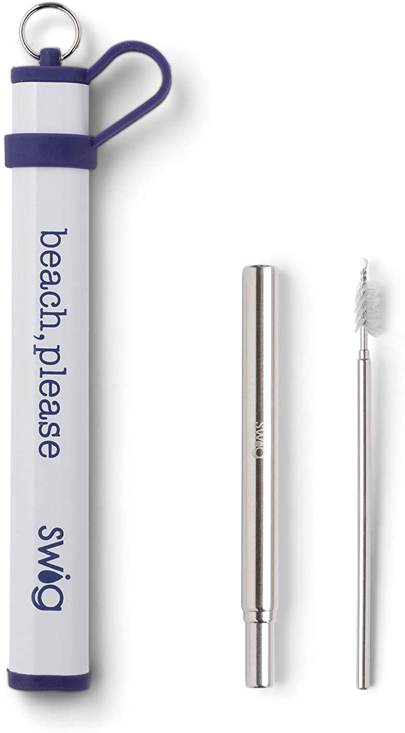 Swig Life Telescopic Stainless Steel Straw Set, Reusable, Portable Metal Drinking Straws with Cleaning Brush and Travel Carrying Case (Purple Beach Please Case)