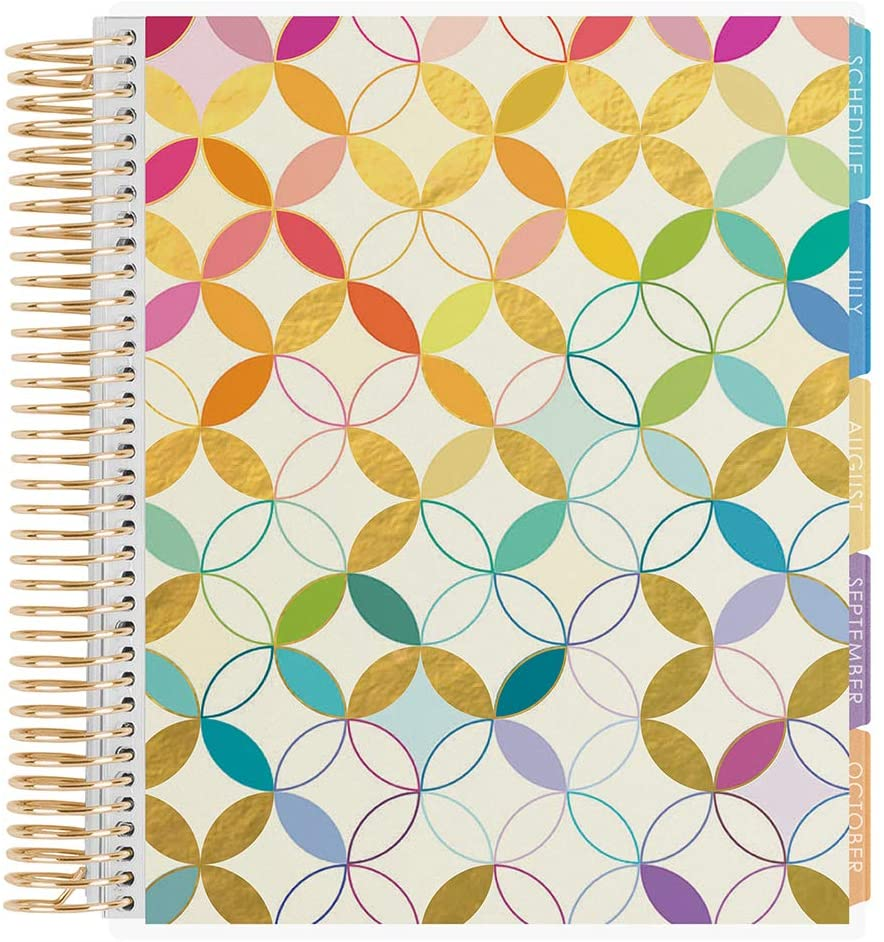 Erin Condren 12 - Month Academic Planner (August 2020 - July 2021) - Metallic Mid Century Circles, Gold Coil - with Monthly View Tabs, Dated Calendar, Assignment Trackers and Notes Pages