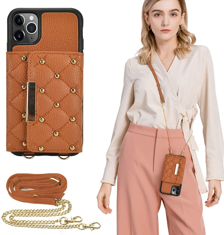 ZVE iPhone 11 Pro Max Wallet Case, iPhone 11 Pro Max Case with Card Holder, iPhone 11 Pro Max Case with Crossbody Strap for Women, Leather Shockproof Case for iPhone 11 Pro Max,6.5 inch - Brown