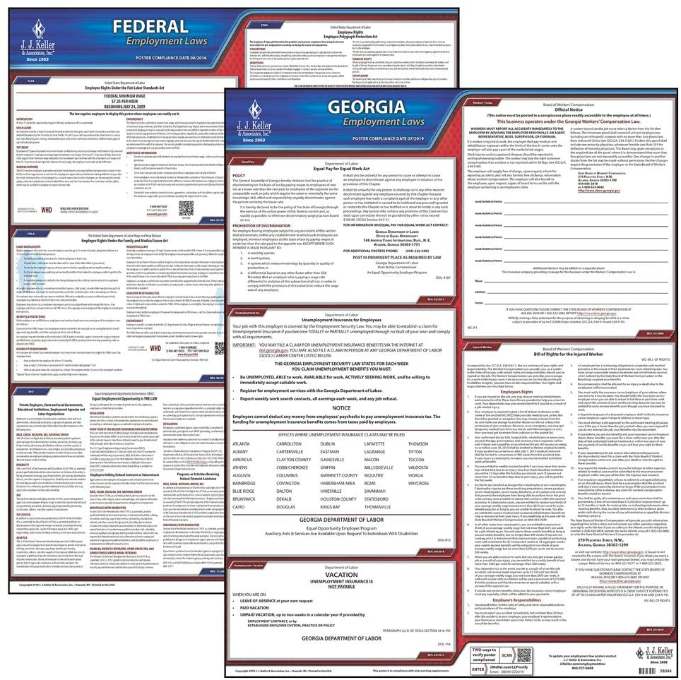 2020 Georgia State and Federal Labor Law Poster Set (English, GA State) - OSHA Compliant Laminated Posters - Includes FFCRA Poster