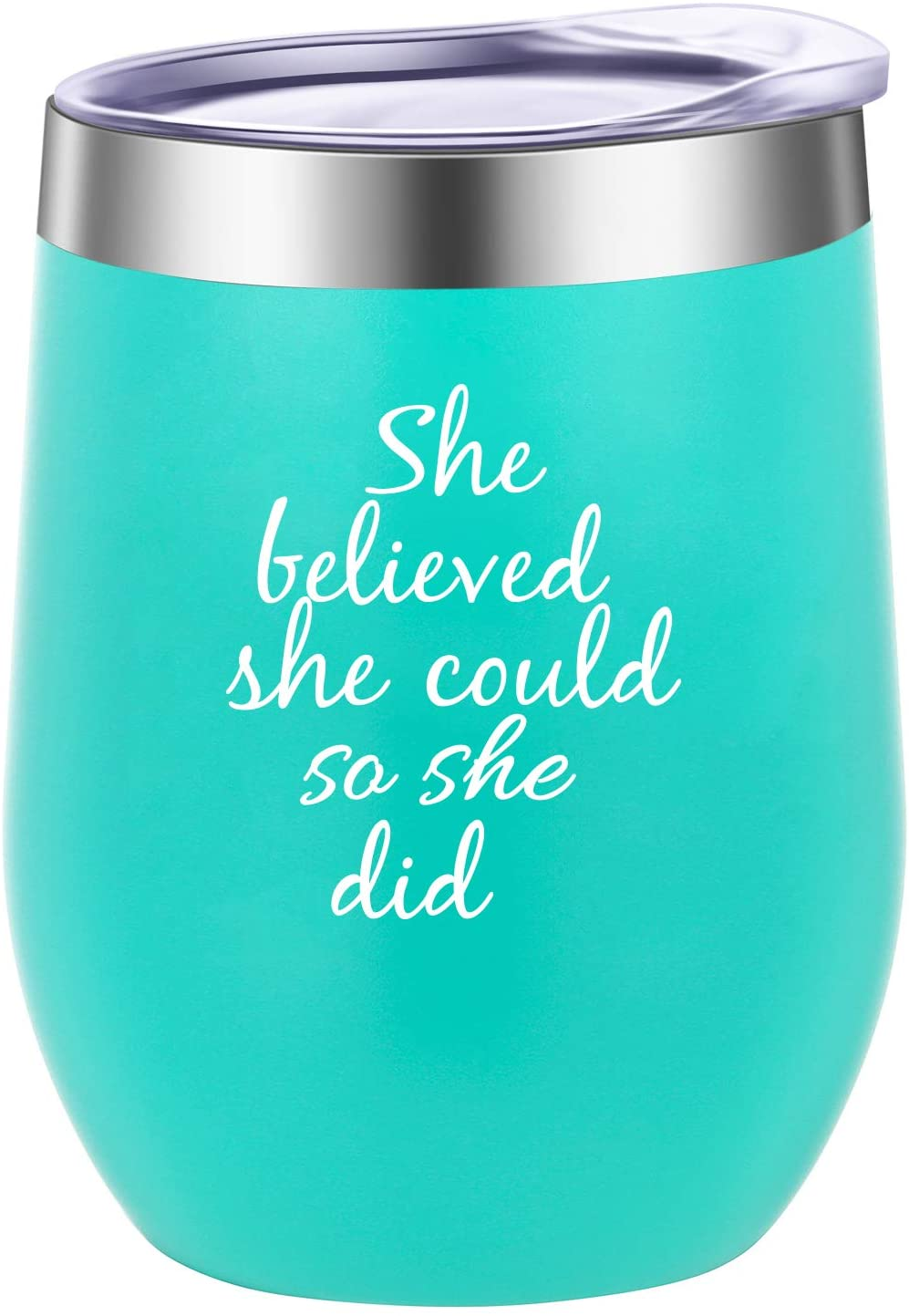 She Believed She Could So She Did Wine Tumbler Mug,Spiritual Inspiritional Gifts for Women,Congratulations, Graduation,Going Away,Job Change,Congrats,Birthday Gift doctorate graduation Gifts 12 oz