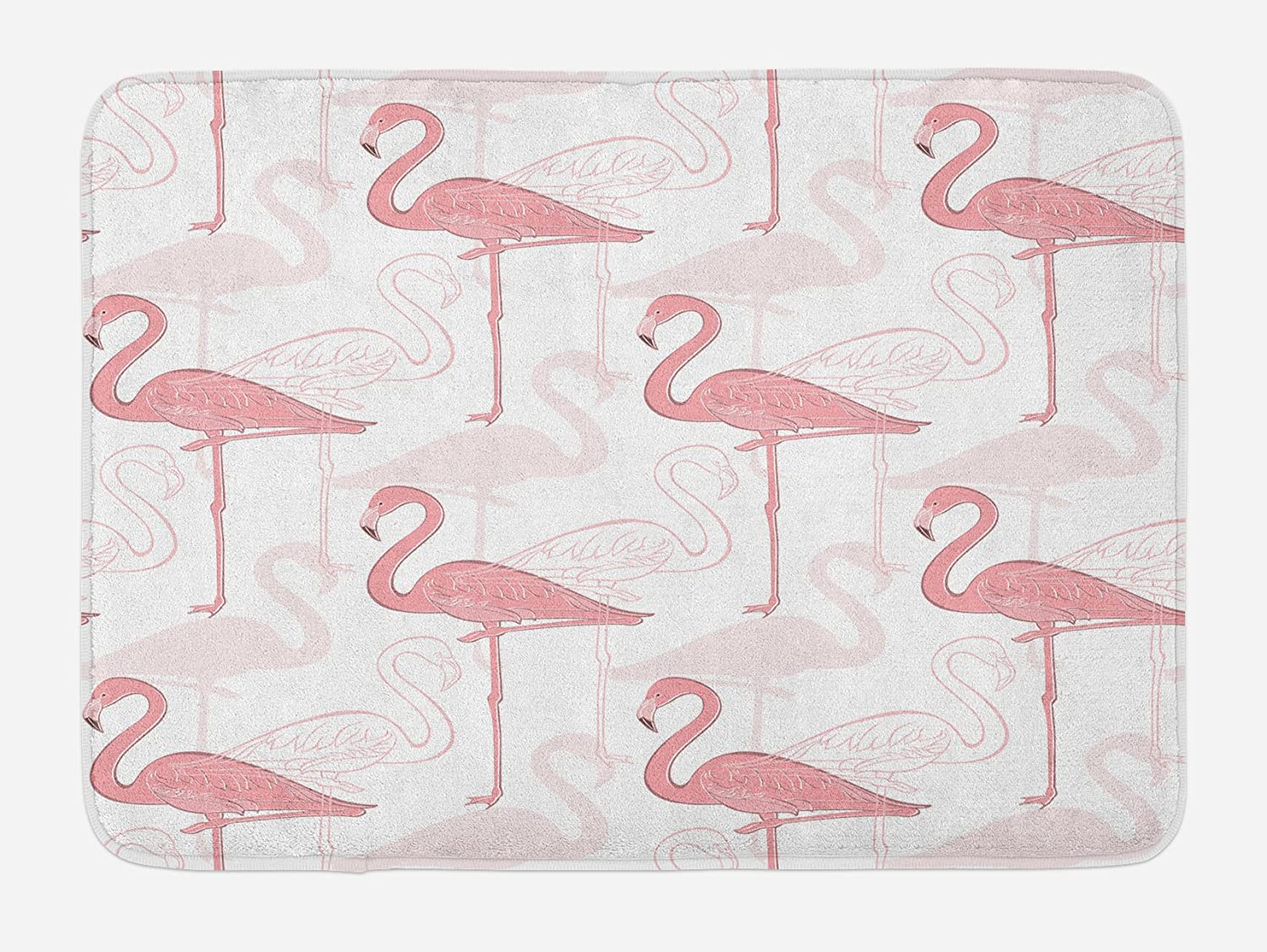 Lunarable Flamingo Bath Mat, Standing Flamingos Pattern Holiday Jungle Hawaii Wildlife Illustration, Plush Bathroom Decor Mat with Non Slip Backing, 29.5 X 17.5, Pale Pink and White