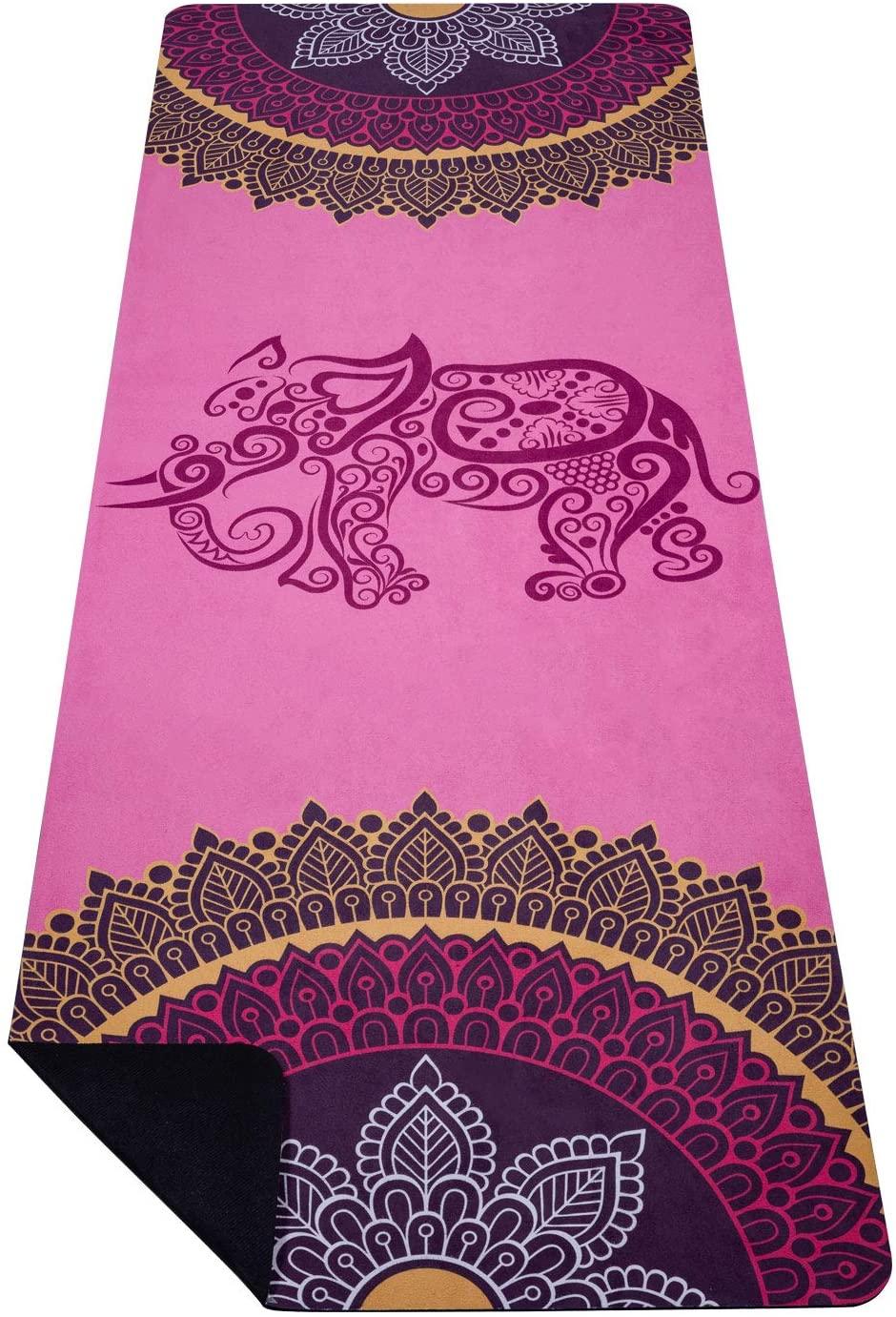 SNΛKUGΛ Yoga Mat - Premium 3.5MM Print Suede & Eco-Friendly Natural Rubber Non Slip Exercise & Fitness Mat for Yoga, Pilates, Bikram, Ashtanga (72