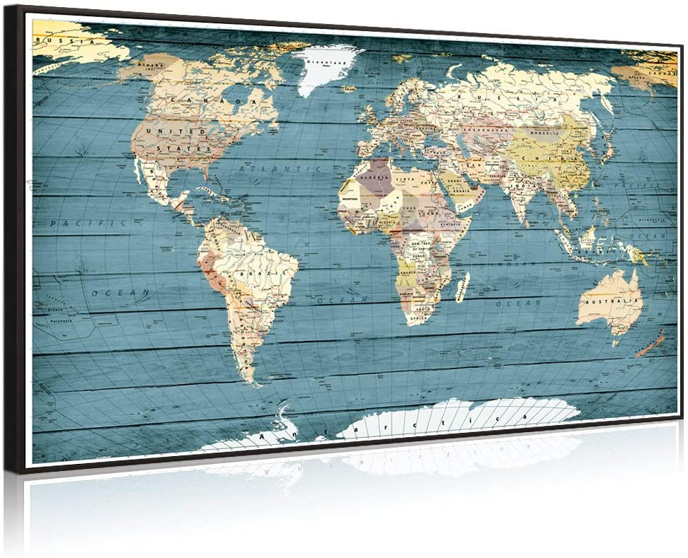 Welmeco XLarge Blue Rustic Wood Background Detailed World Map Canvas Prints with Premium Black Frame Vintage Push Pins Travel Map of The World Picture for Modern Home Office Living Room Decoration