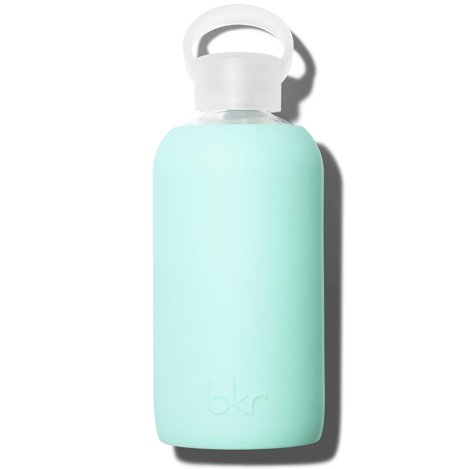 bkr Glass Water Bottle - Luxury BPA Free Water Bottle, Smooth Silicone Sleeve - Pepper - Opaque Sweet Peppermint Green - Leak Proof, Narrow Neck, Dishwasher Safe - 16 Ounces