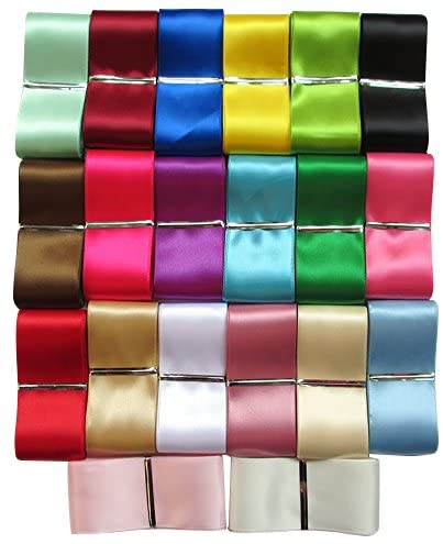Chenkou Craft 20Yards Single Face Solid Satin Polyester Ribbon 20 Colors Assorted Bulk Lots Mix (2