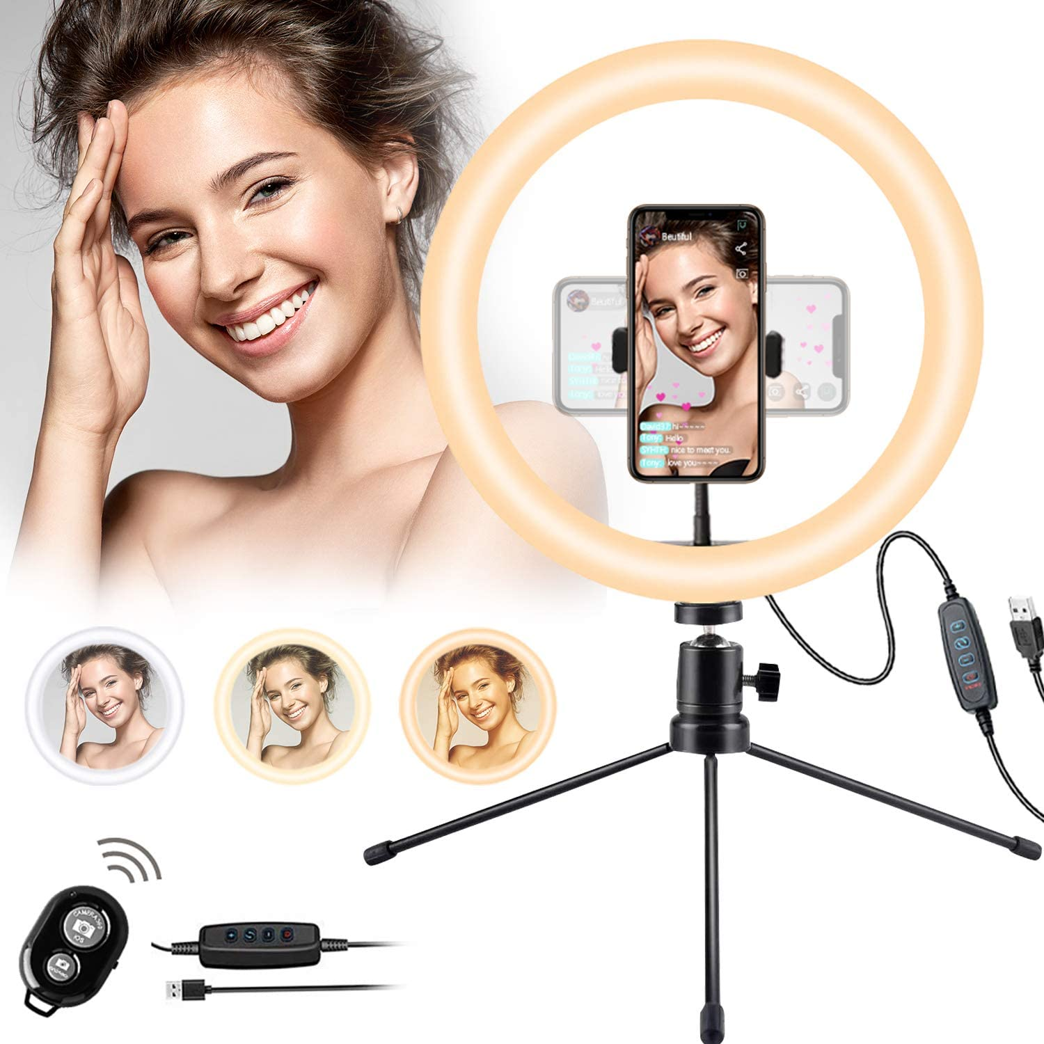 Selfie Ring Light for Live Streaming Online Lesson/Meeting/Selling Selfie Video Shooting Photography 10