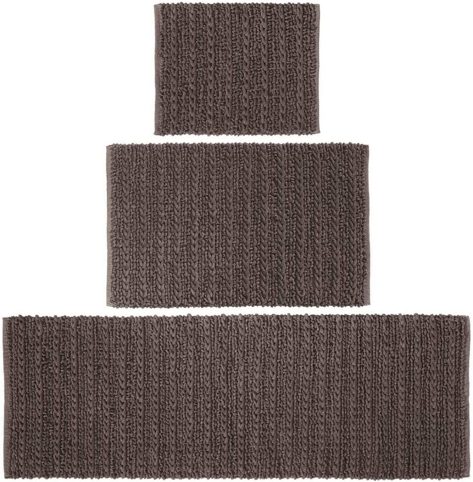 mDesign 100% Cotton Luxury Rectangular Spa Mat Rugs, Plush Water Absorbent - for Bathroom Vanity, Bathtub/Shower, Machine Washable - Braided Design - Runner, Standard & Small Rug, Set of 3 - Brown