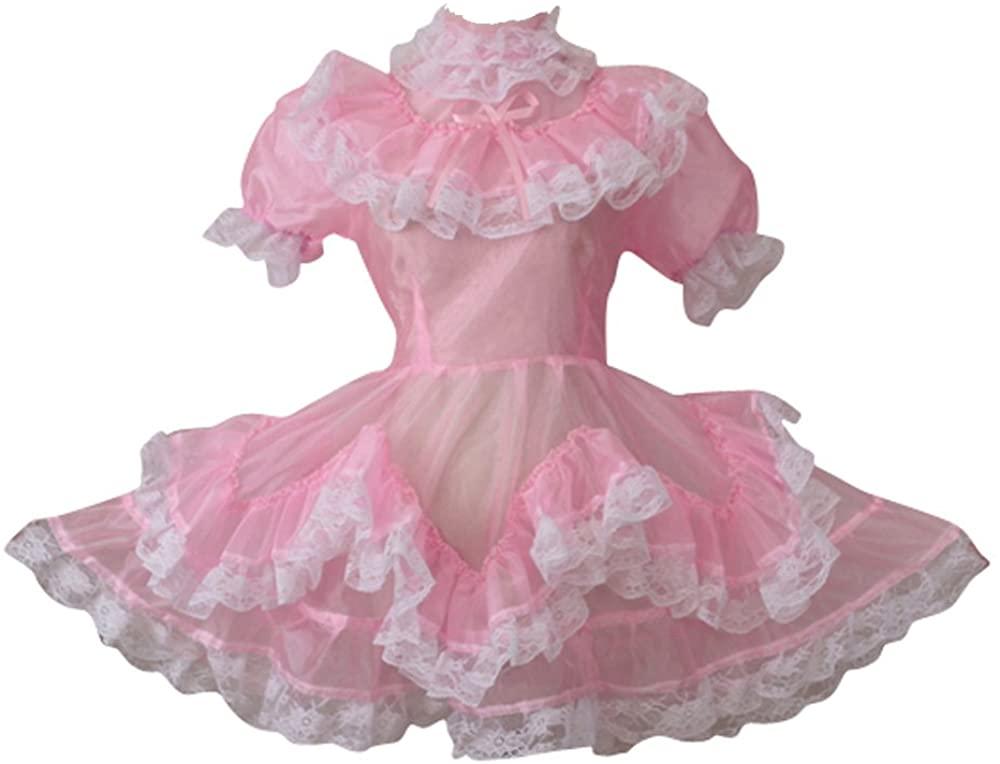 GOceBaby Sissy Maid Pink Organza Lockable See Through Dress Uniform Costume