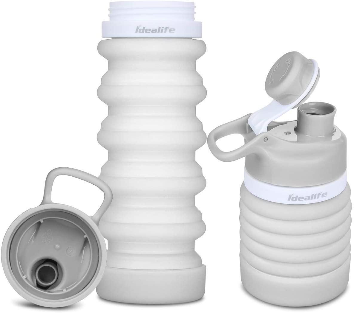Idealife Collapsible Water Bottle BPA Free Food-grade Portable Silicone Leak Proof Safe Water Bottle for Women Men Kids, 18oz 550ml
