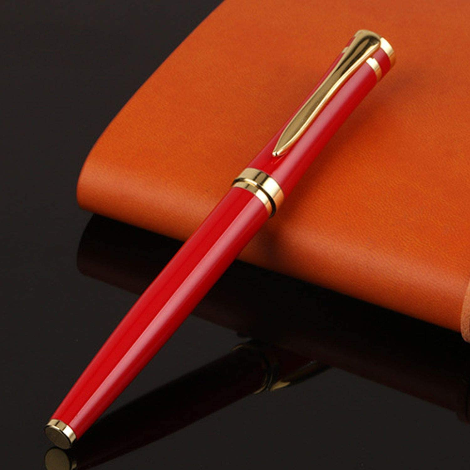 Personalized Quality Full Metal Ball Point Black Ink Pen- Free Engraving (Red/Gold)