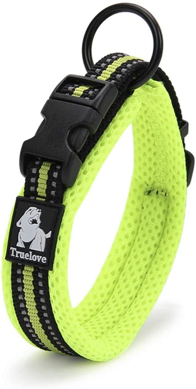 UMBRELLALABORATORY Truelove Dog Collar 3M Reflective Padded Nylon mesh Adjustable pet Product for Small, Medium, Large Breeds, Boys and Girls