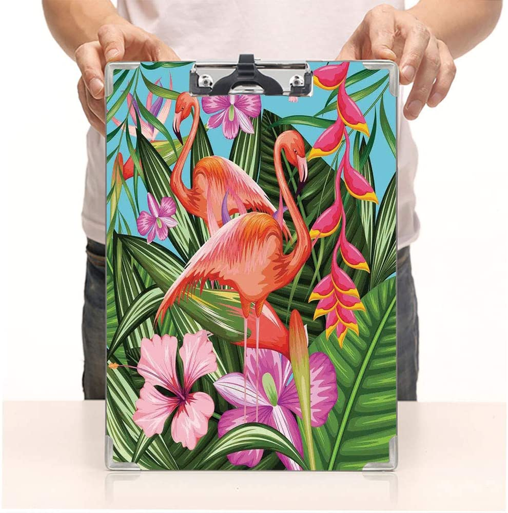 Custom Printing Clipboard,Hardboard Clipboard Pack,Flamingo with Tropical Garden Hibiscus Flower,Office School Workers Business use