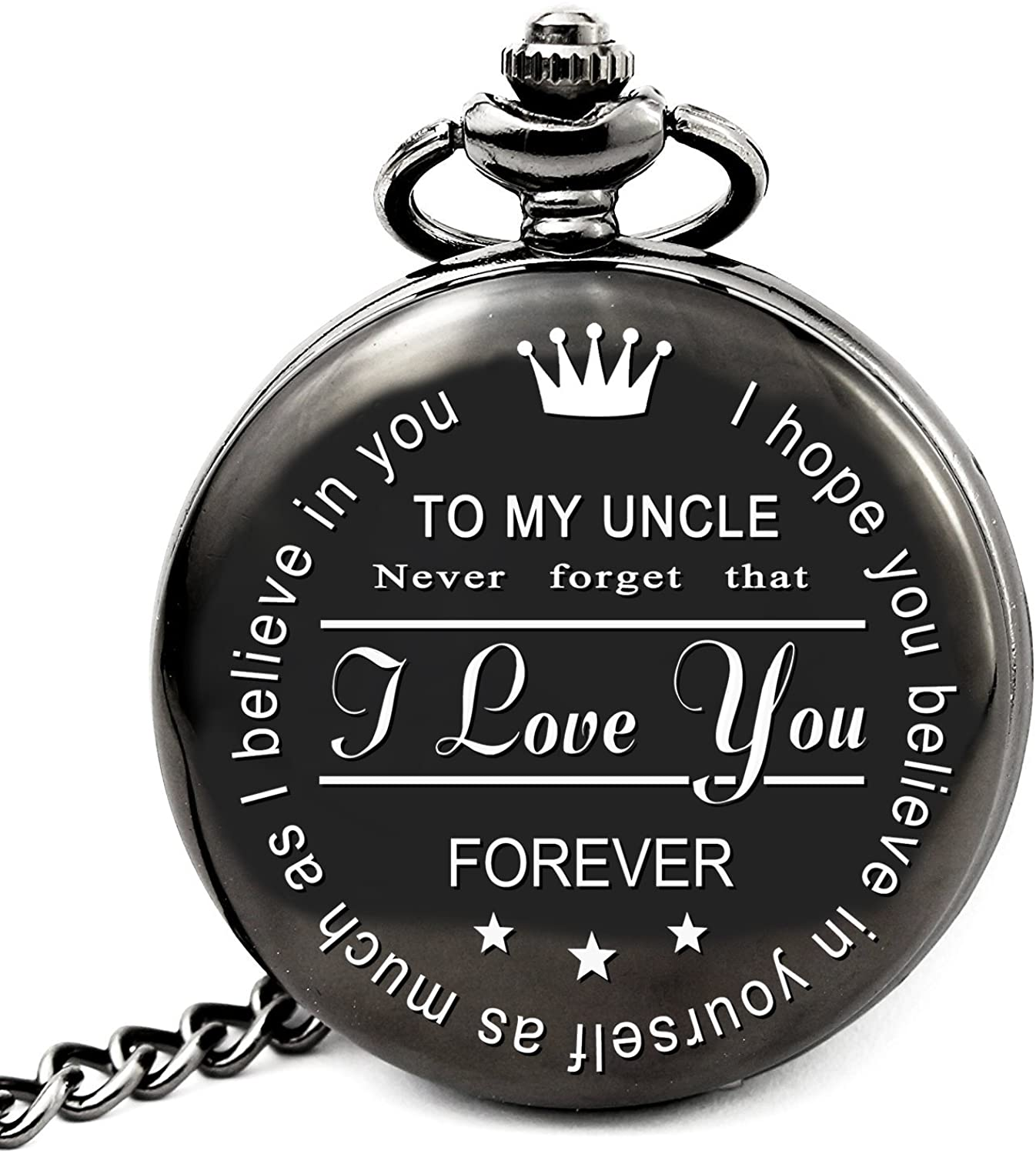 Gifts for Uncle from Nephew Niece Unique Gifts for Men Engraved Pocket Watch with Chain (to Uncle, Black)