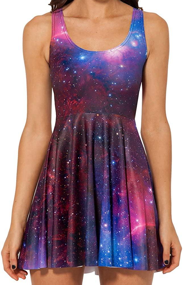 Sister Amy Women's Printed Elastic Sleeveless Shaping Breathable CamisoleSkater Dress