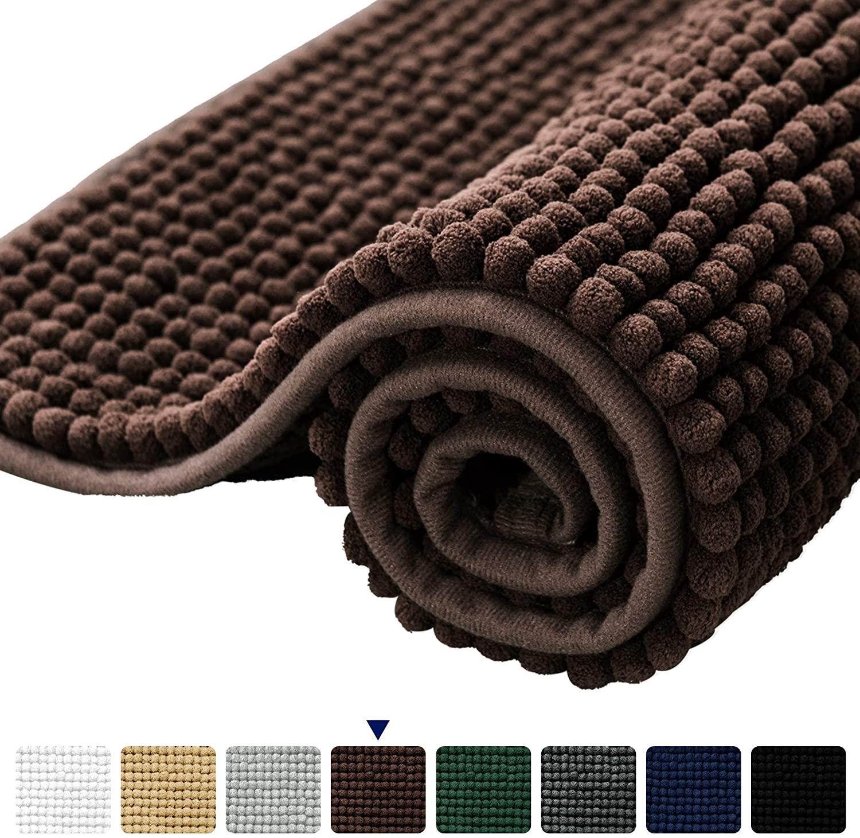 subrtex Bathroom Rugs Chenille Soft Short Plush Bath Mat Non-Slip Water Absorbent Shower Mat Quick Dry Machine Washable(Chocolate,20 x 32)