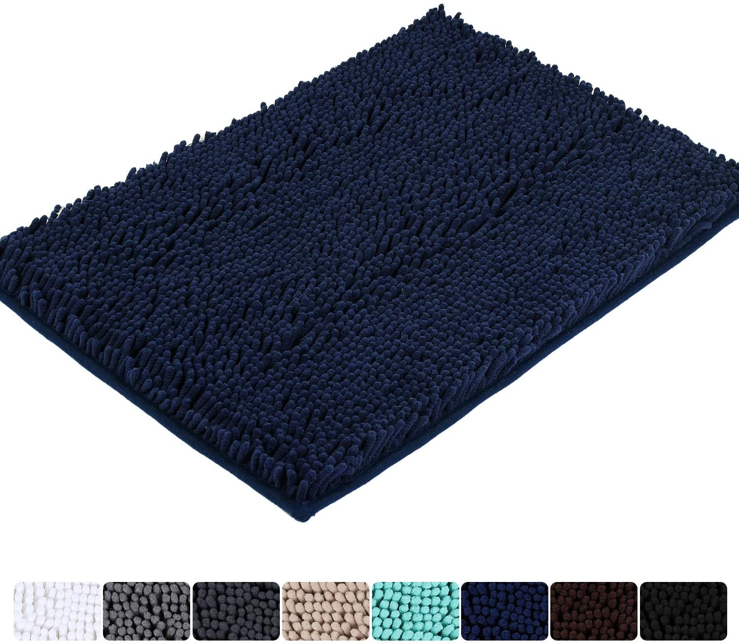 Colorxy Luxury Chenille Bathroom Rugs - Solid Shaggy Washable Bath Mat Non Slip Bath Room Runner, Ultra Soft, Plush Bathmat for Bathroom Shower with Water Absorbent Memory Foam, 20''x32'', Navy