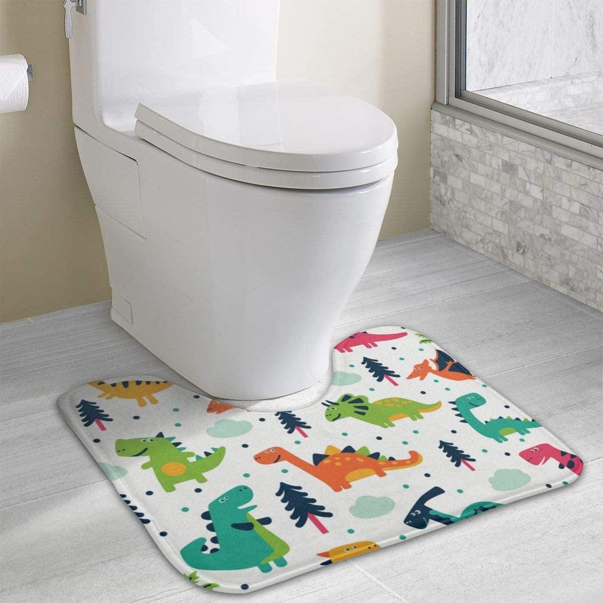 NiYoung Contour Bath Rug,U-Shaped Toilet Contour Rug Toilet Mat Bath Mat Non Slip Bathroom Rug 15.8x19.3 Inches,Cartoon Dinosaur Set