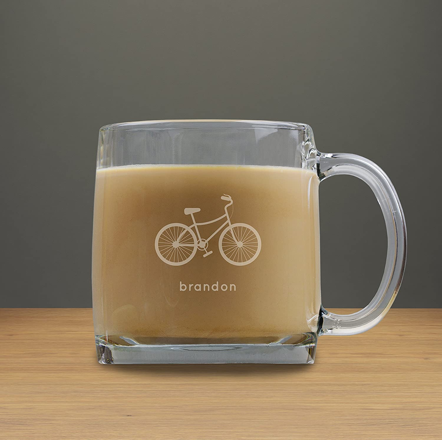 Personalized Bicycle Coffee Cup, 13 oz Coffee Glass Cup, Engraved Gifts, Gifts for Mom and Dad,Gift for Coworker