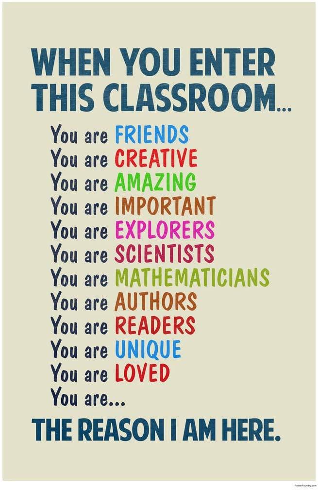 Classroom Sign When You Enter This Classroom Educational Rules Teacher Supplies School Decor Teaching Toddler Elementary Learning Teachers Motivational Light Cool Wall Decor Art Print Poster 12x18