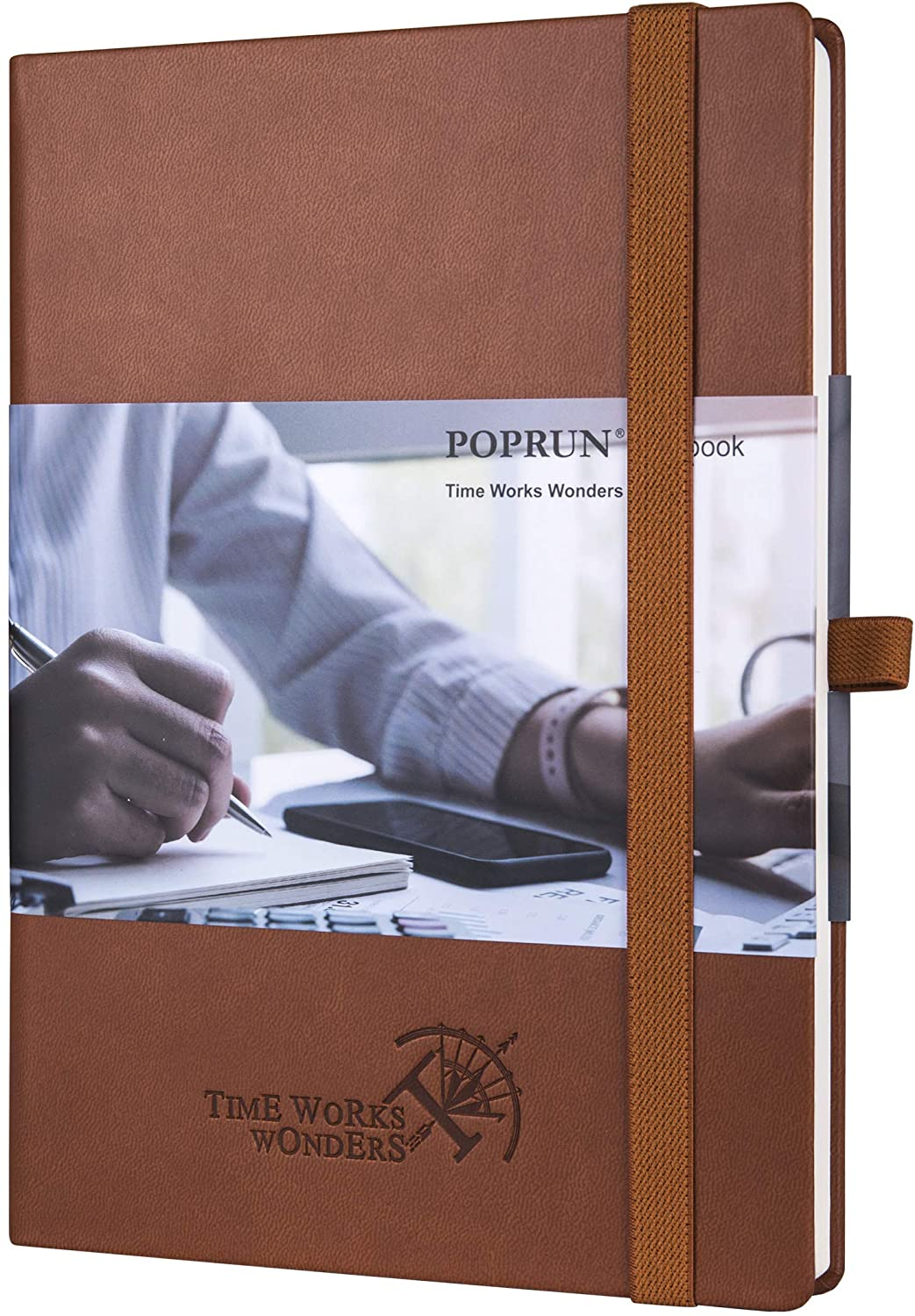 College Ruled Notebook Journal - Vegan Leather Hard Cover, Premium 120 gsm Ivory Paper, 155 Numbered Pages with Perforated Corner, 6 x 8.5 inches (Lined, Brown)